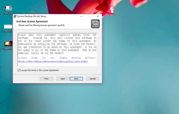 Соглашение на использование Zimbra Desktop