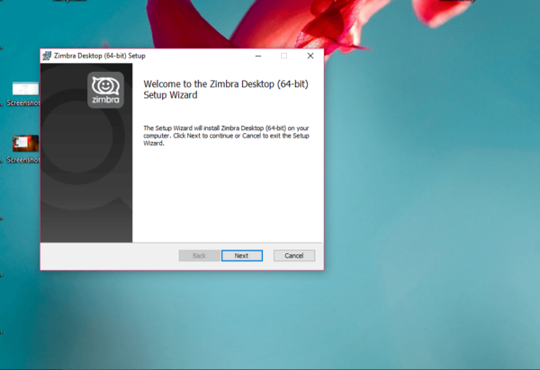 Установка Zimbra Desktop
