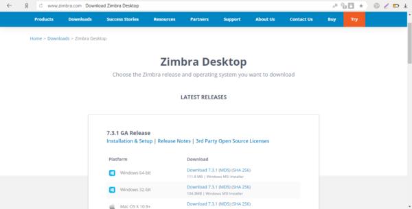 Загрузка установщика Zimbra Desktop