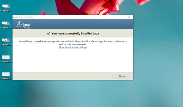 Успешная установка Java Oracle Runtime Environment