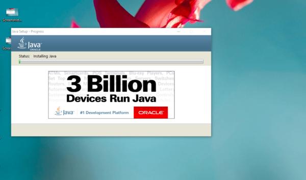 Процесс инсталляции Java Oracle Runtime Environment