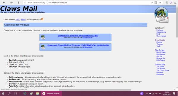 Официальный сайт Claws Mail