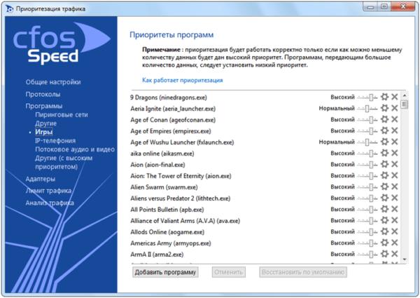 Окно программы CFosSpeed