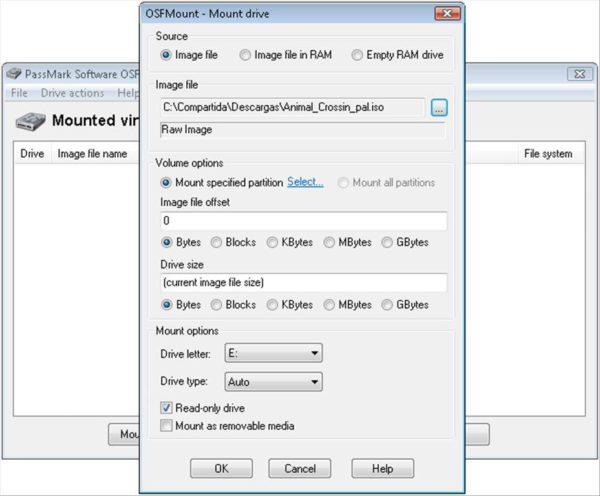 Окно программы OSFMount