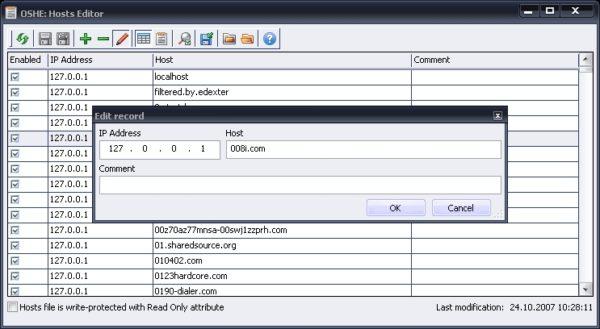 Правка записей в OSHE