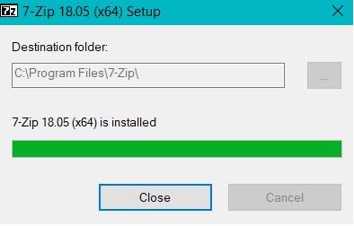 Окончание установки 7-Zip