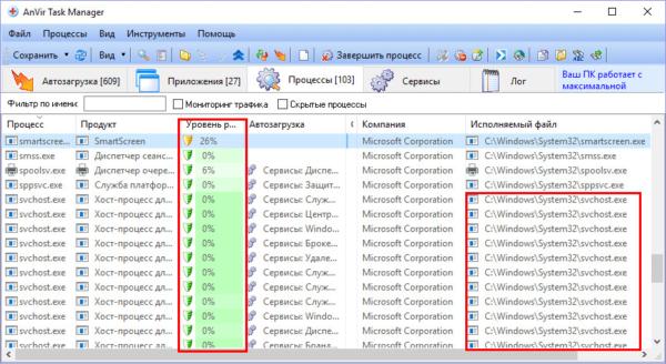 Местонахождение файла в AnVir Task Manager