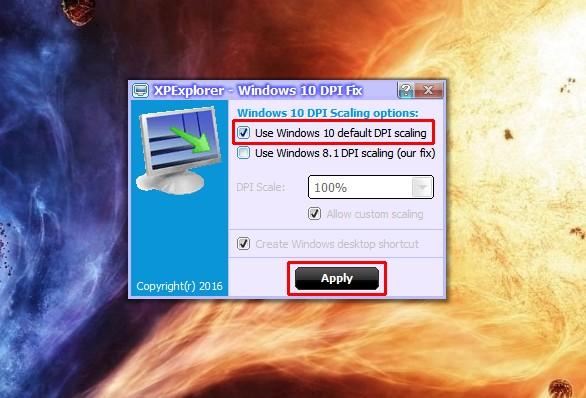 Утилита Windows 10 DPI Fix