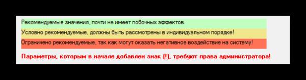 Типы параметров W10Privacy