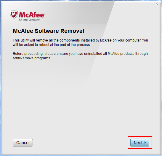 Программа McAfee Removal Tool