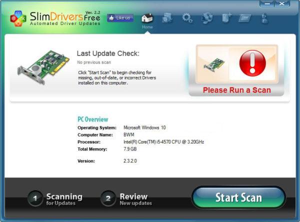 Стартовое окно программы SlimDrivers