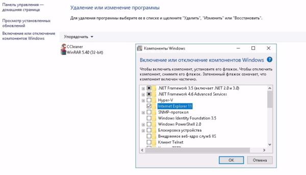 Включение Internet Explorer